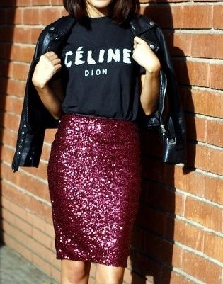 sequin pink skirt
