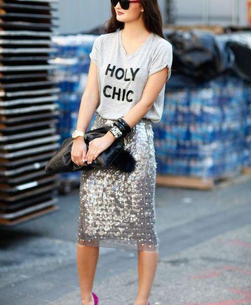 Sequin Silver Skirt