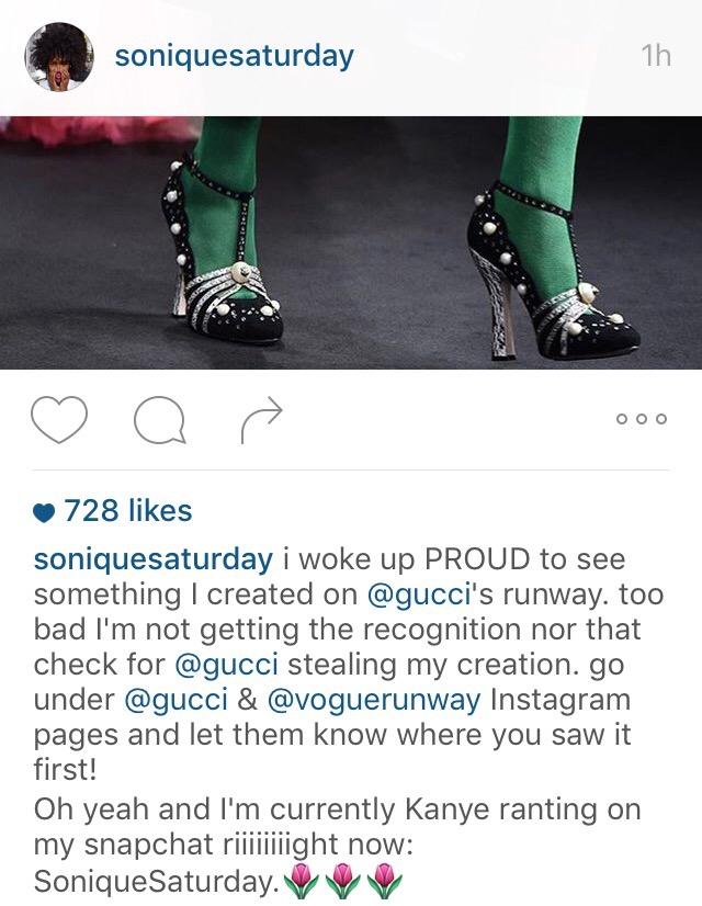 Gucci Allegedly Steals Indie Designer Sonique Saturday s Concept for ... 55db600040f7d