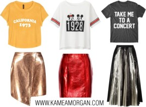 The Perfect Combo: Graphic Tees & Metallic Skirts