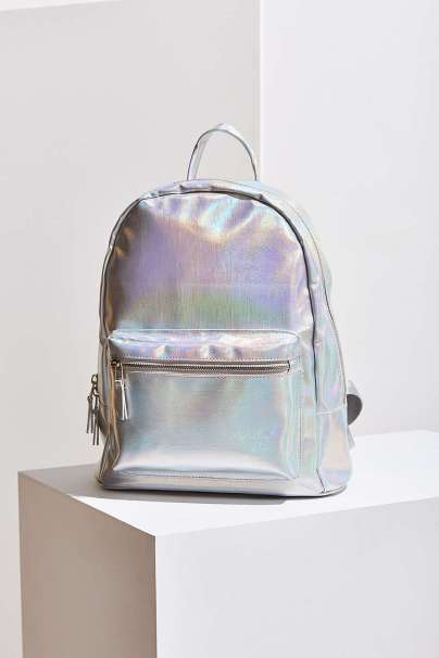 holograhic backpack- iridescent wallet-urban outfitters-kamea morgan.jpeg