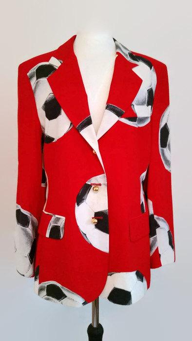 vintage moschino soccer print blazer