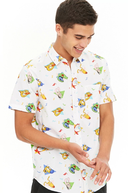 nickelodeon characters forever 21 novelty print shirt