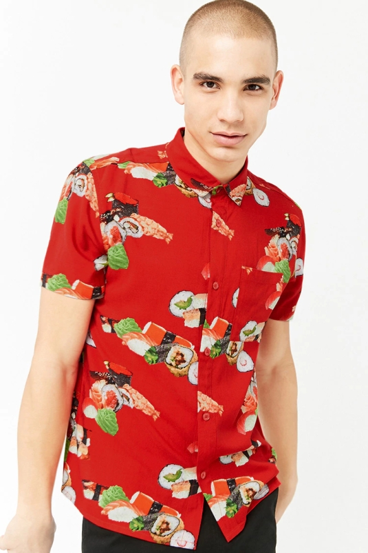 sushi button down printed shirt forever 21