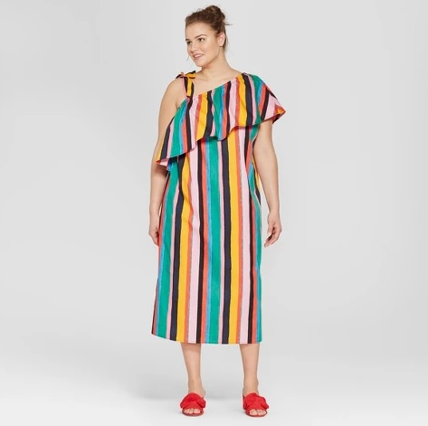 target-multi colored-striped dress-plus size-who-what-wear