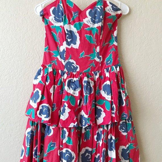 vintage laura ashley strapless dress.jpg